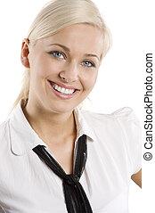fille souriante, blonds