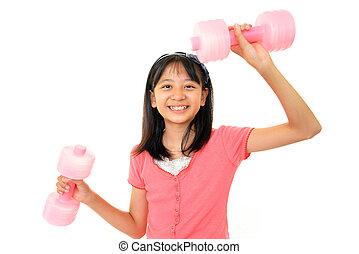 fille souriante, exercice