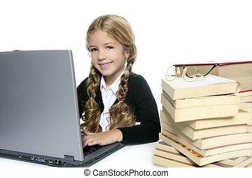 fille souriante, peu, blonds, école