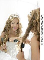 fille souriante, peu, blonds, princesse