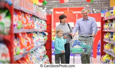 fille, supermarché, mère