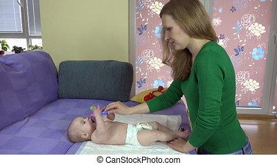 fille, toy., nouveau né, 4k, legs., mère, bébé, exercice