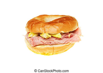 Filled bagel - Ham and salad filled bagel isolated on white