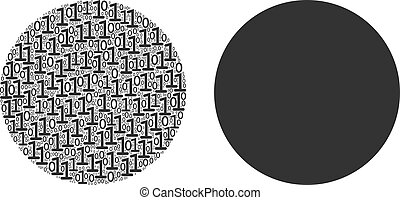 Filled Circle Collage of Binary Digits - Filled circle ...