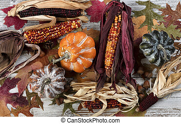 Filled frame format of seasonal decorations for the happy thanksgiving holiday