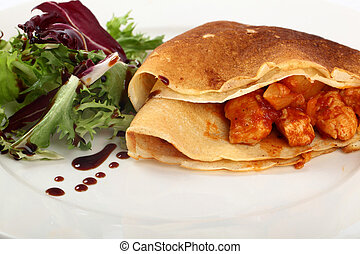 Filled Pancakes With Salad And Dressing