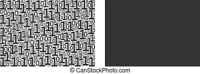 Filled rectange mosaic icon of zero and one symbols in variable sizes. Vector digital symbols are scattered into filled rectange composition design concept.