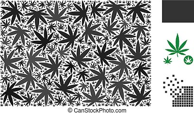 Filled rectange mosaic of cannabis leaves in various sizes and color tinges. Vector flat cannabis items are composed into filled rectange figure. Addiction vector illustration.