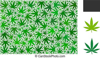 Filled rectange mosaic of cannabis leaves in variable sizes and green shades. Vector flat hemp elements are composed into filled rectange mosaic. Drugs vector illustration.
