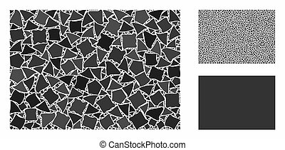 Filled rectange mosaic of raggy pieces in different sizes and shades, based on filled rectange icon. Vector tremulant pieces are organized into collage.