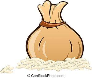 filled rice bag on white background