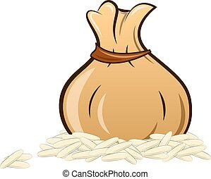 filled rice bag on white background