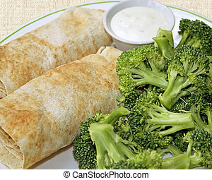 Filled Tortillas and Broccoli
