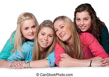 filles, 4, heureux