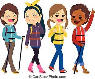 filles, amis, randonnée