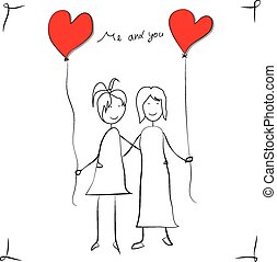 filles, amour, carte voeux