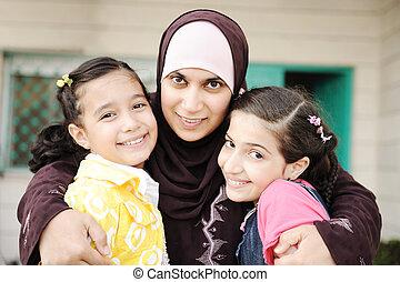filles, amour, musulman, deux, mère, arabe, soin