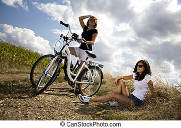 filles, apprécier, vélo