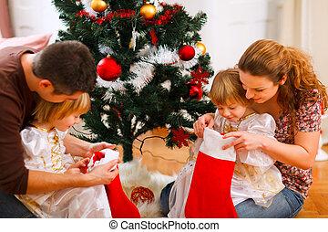 filles, arbre, intérieur, noël, maman, papa, jumeaux, regarder, chaussettes