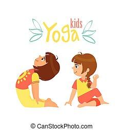 filles, asana, yoga, deux