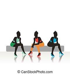 filles, assied, sofa, beau