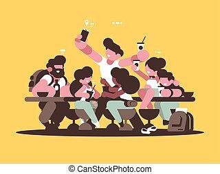 filles, café, amis, délassant, types