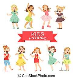 filles, chant, jeune, karaoke