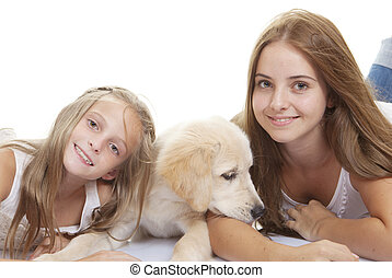 filles, chiot, famille, animaux familiers