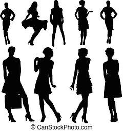 filles, collection, -, vecteur
