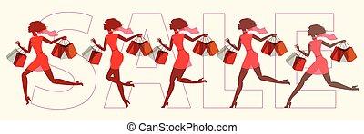 filles, course, sur, sale., vecteur, illustrat