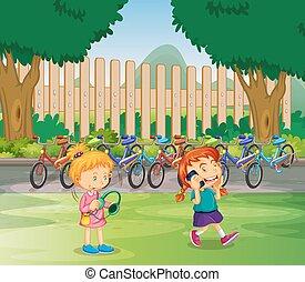 filles, dehors, parc, deux, pendre