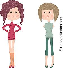 filles, dessin animé, sombre, deux