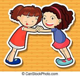 filles, deux, ensemble, jouer