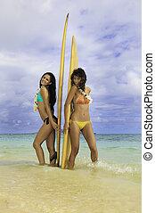 filles, deux, leur, lanikai, plage, planches surf