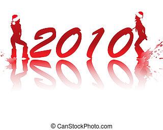 filles, disco, rouges, année