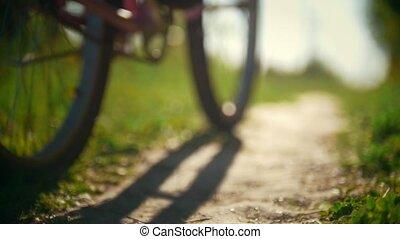 filles, ensoleillé, jeune, deux jours, forêt verte, cyclistes, sentier, dépassement, jambes, ralenti