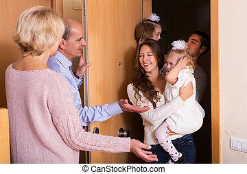 filles, famille, visiter, parents, grandiose, deux