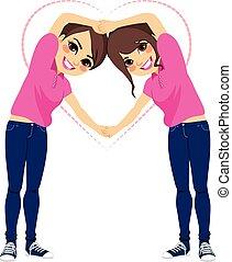 filles, forme, amour, bras