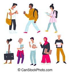 filles, groupmates, étudiants, université, livres, garçons