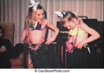 filles, hawaien, jupes, danse