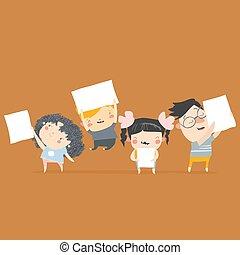 filles, heureux, affiches, vide, dessin animé, garçons, tenue