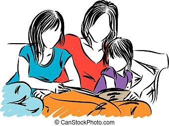 filles, illustration, mère, vecteur