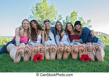 filles, jamais, groupe, amis, heureux