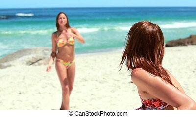 filles, jeu frisbee, deux