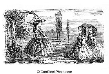 filles, jeu, outdoor:, exécution, les, capitaine, ordres