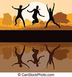 filles, jeune, illustration, eau, vecteur, fond, amical, sauter