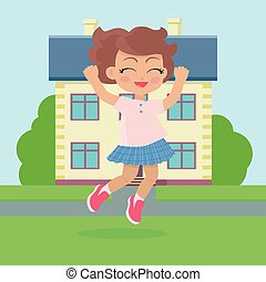 filles, joie, house., devant, sauter, petite maison