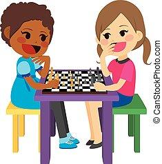 filles, jouant échecs