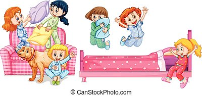 filles, jouer, chambre à coucher