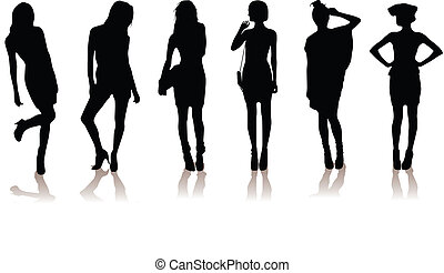 filles, modèle, beau